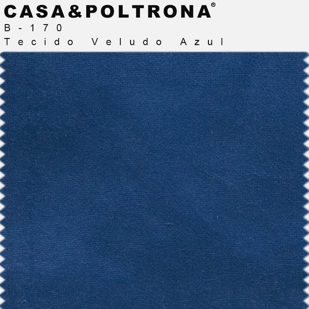 Conjunto de Poltrona Com Puff La Pétala Pés Duo Veludo Azul - CasaePoltrona