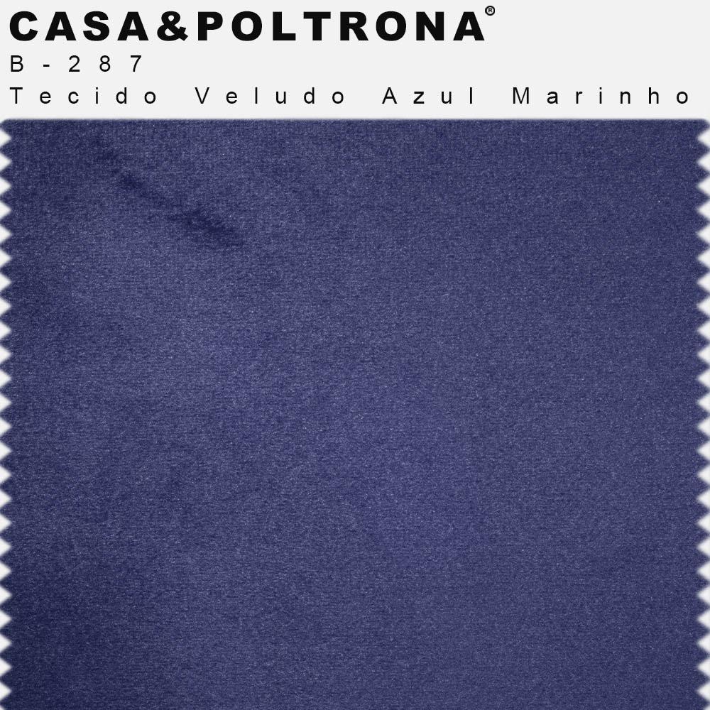 Conjunto de Poltrona Com Puff La Pétala Pés Duo Veludo Azul Marinho - CasaePoltrona