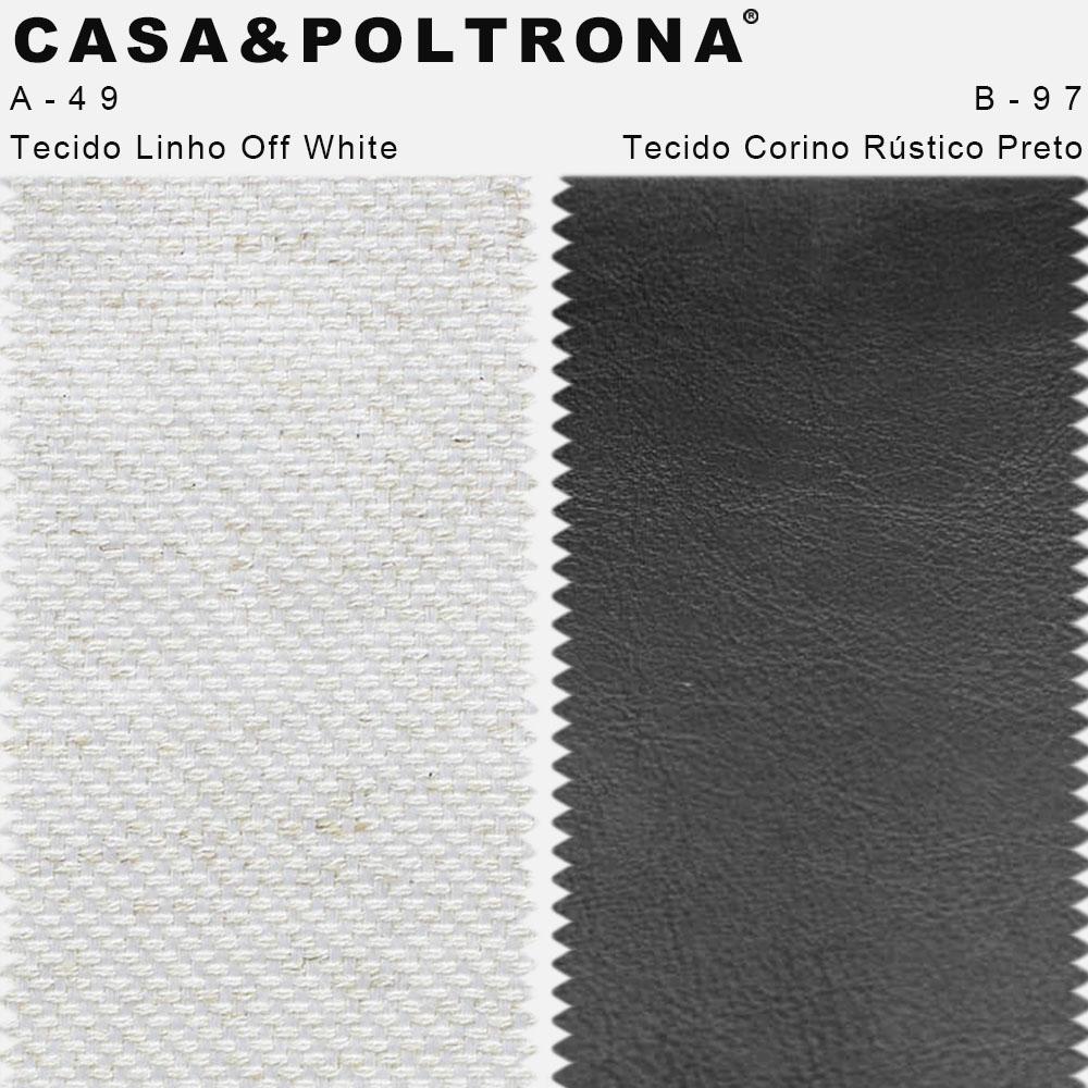 Kit 02 Poltronas Betina Base Aço Bronze Corano Rústico Preto/Linho Off White - CasaePoltrona