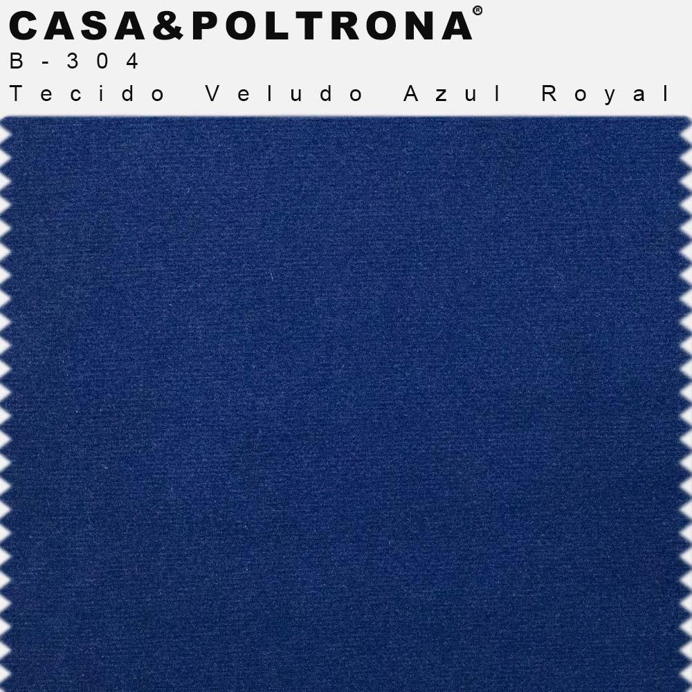 Kit 02 Poltronas Betina Base Aço Bronze Veludo Azul Royal - CasaePoltrona