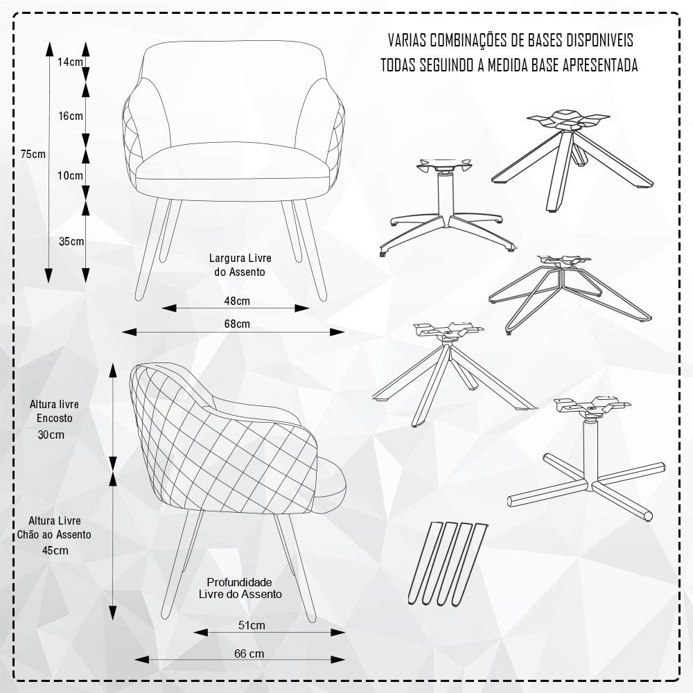 Kit 02 Poltronas Decorativas Jade Base Giromad Linho Mesclado Branco/Cinza - CasaePoltrona