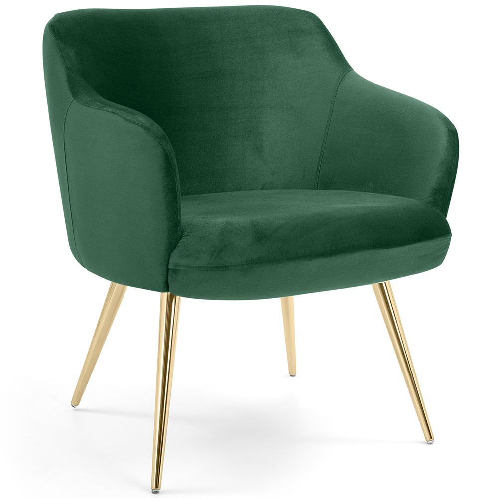 Kit 02 Poltronas Decorativas Jade Palito Gold Suede Verde Esmeralda - CasaePoltrona