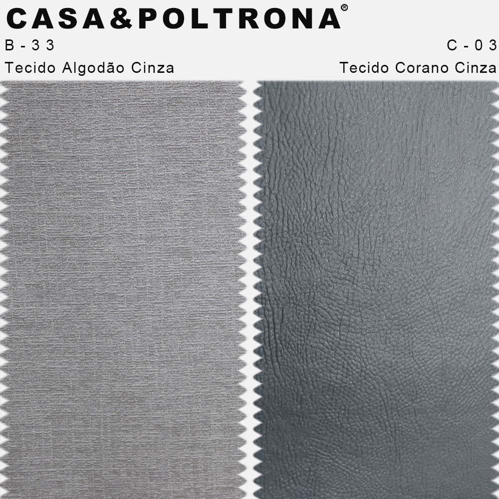 Kit 02 Poltronas Jade Palito Duo Preto Corano Cinza/Algodão Cinza - CasaePoltrona