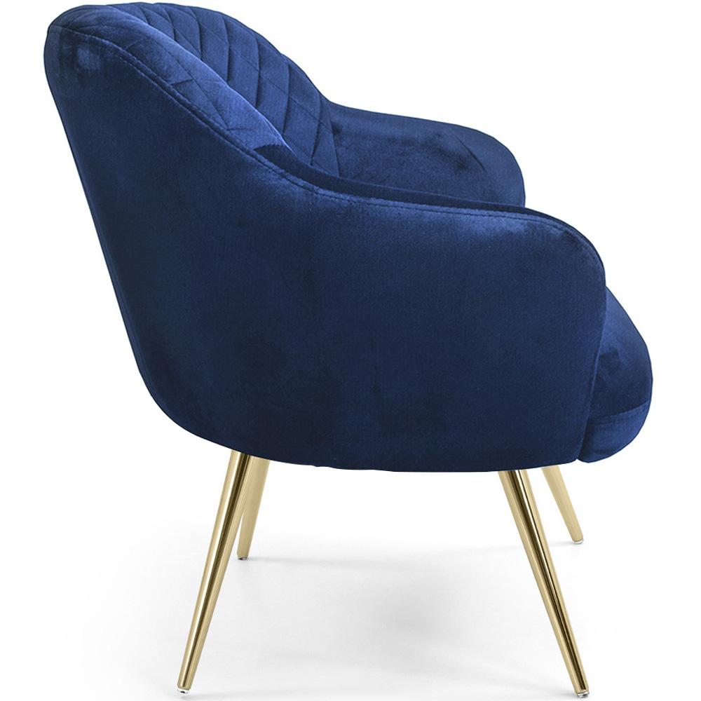 Kit 02 Poltronas Jade Pés Palito Gold Veludo Azul - CasaePoltrona
