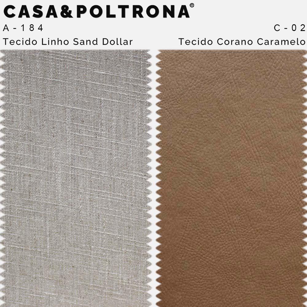 Kit 02 Poltronas Milena Base Madeira Corano Caramelo/Linho Sand Dollar - CasaePoltrona