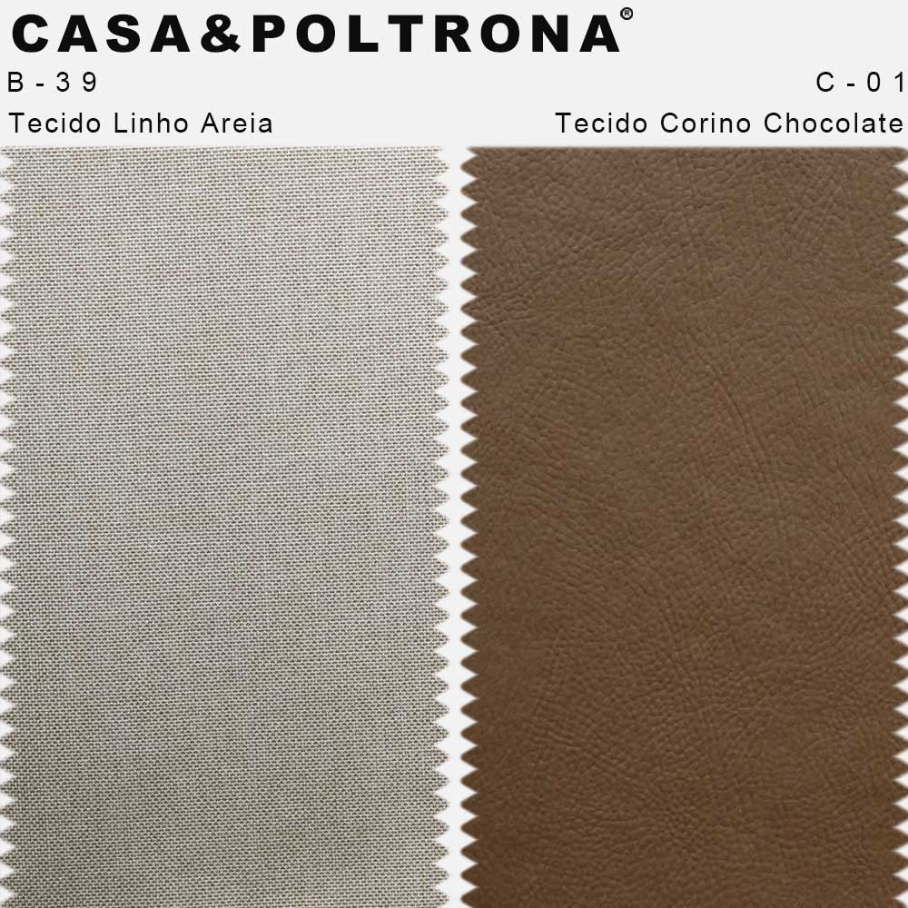 Kit 02 Poltronas Milena Base Madeira Corano Chocolate/Linho Areia - CasaePoltrona