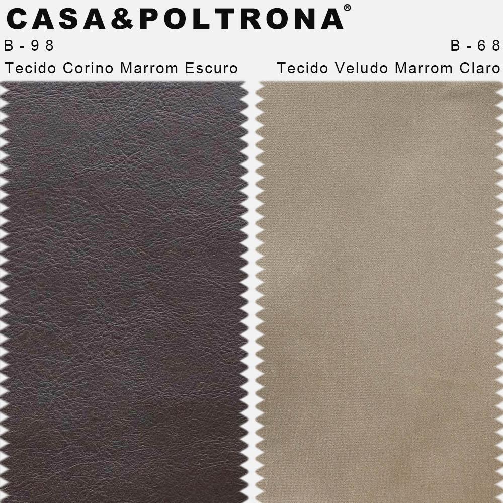 Kit 02 Poltronas Milena Base Madeira Corano Marrom Escuro/Veludo Marrom Claro - CasaePoltrona