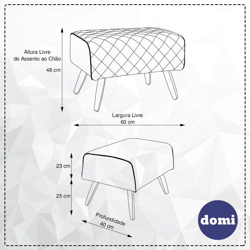 Kit Poltrona Milena Com Puff Viseo Linho Geométrico Capuccino/Linho Palha - casaepoltrona