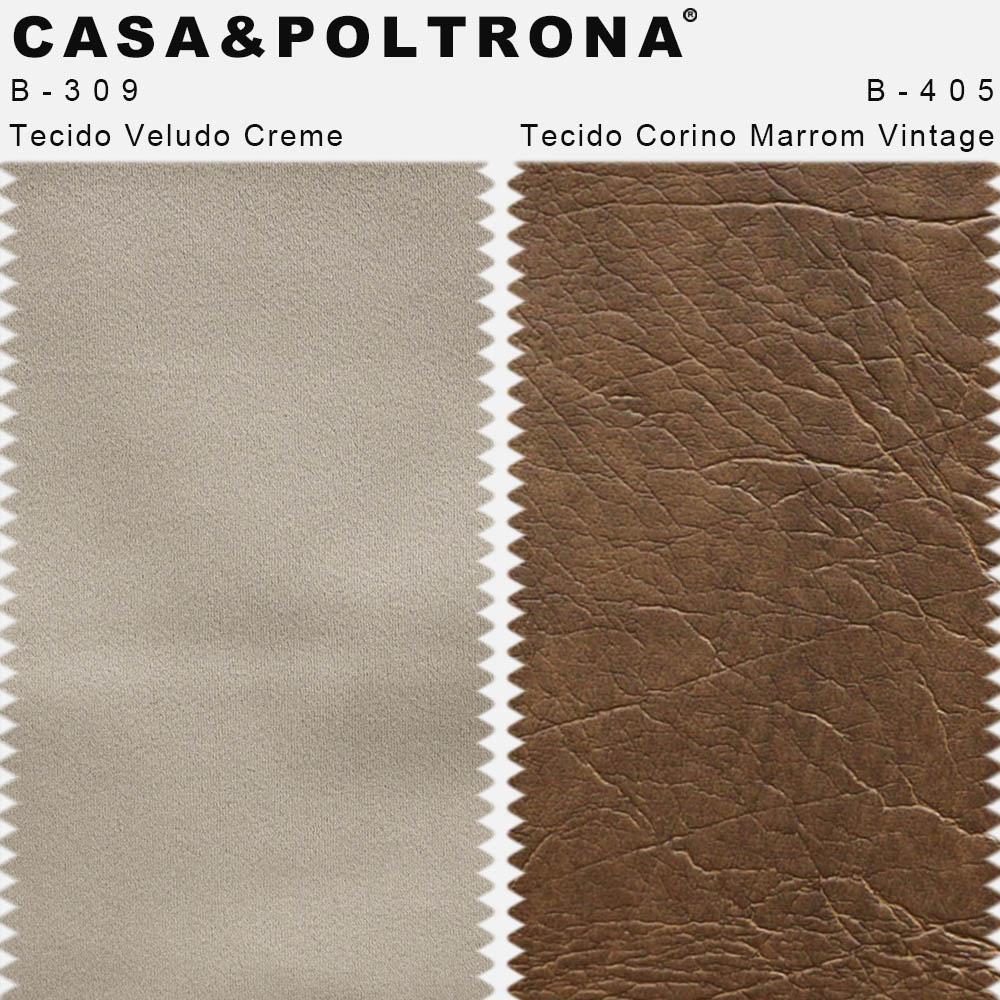 Poltrona Coral Base Fixa Corano Marrom Vintage/Veludo Creme - casaepoltrona