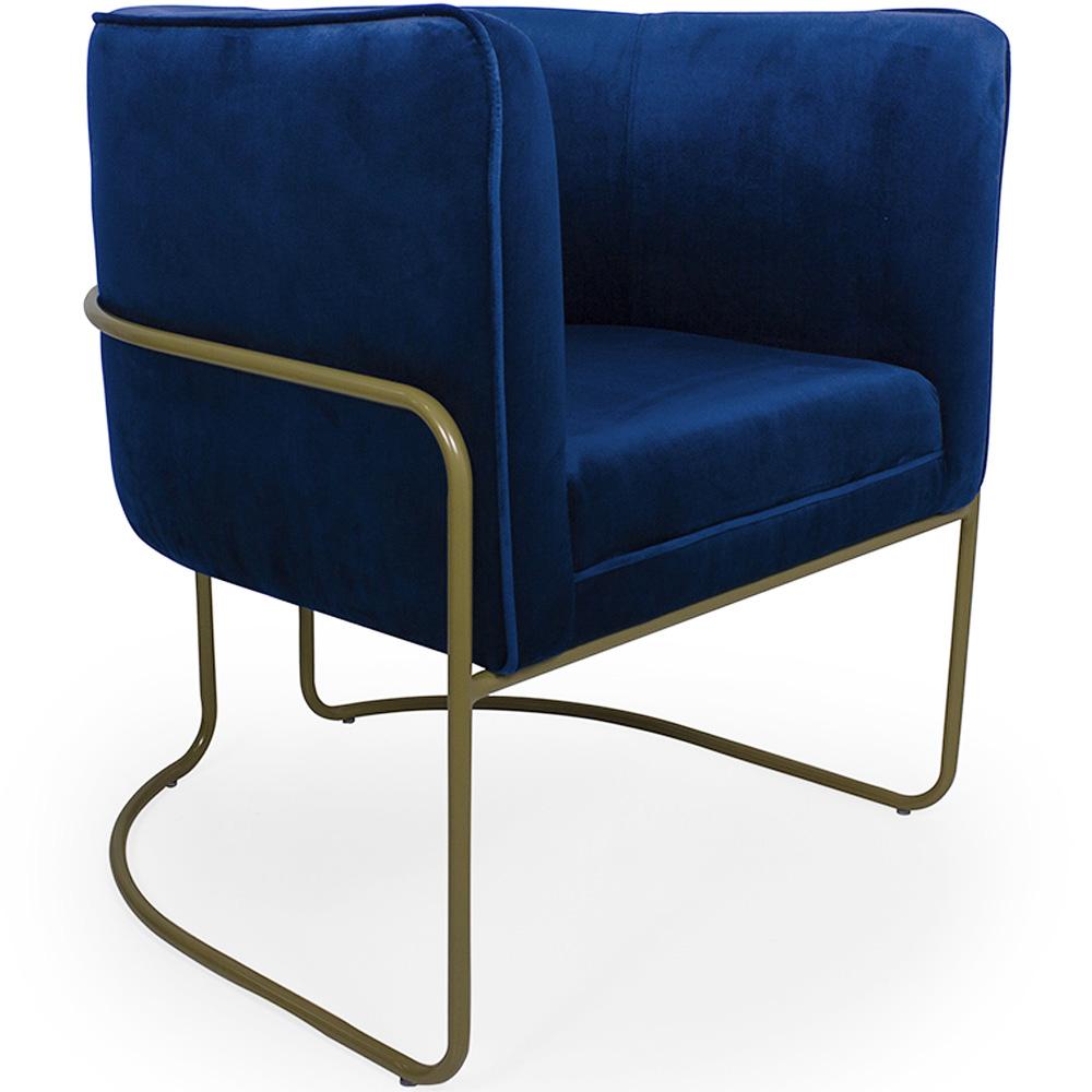 Poltrona de Sala Betina Base Aço Bronze Veludo Azul Royal - CasaePoltrona