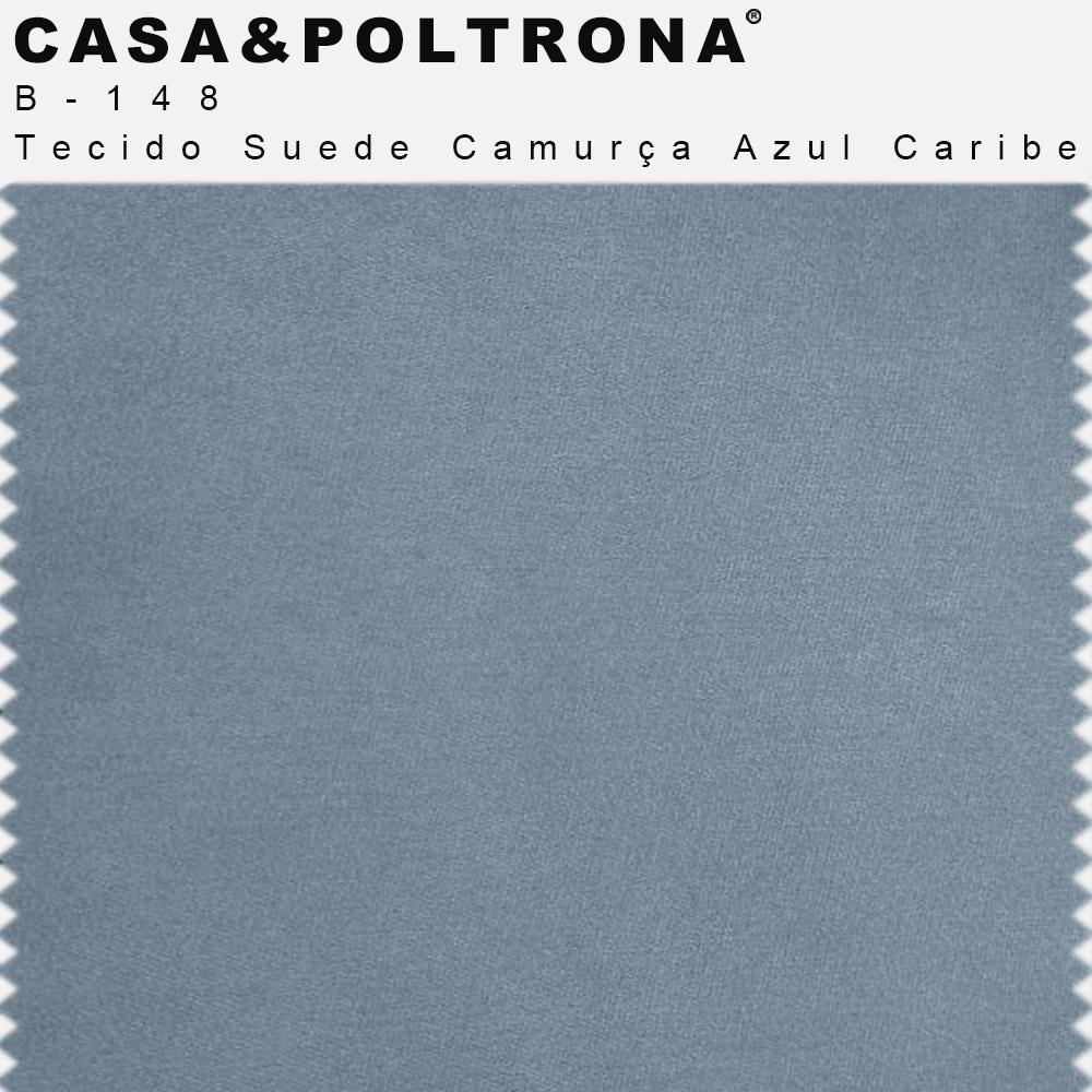 Poltrona de Sala Betina Base Aço Preto Suede Camurça Azul Caribe - CasaePoltrona