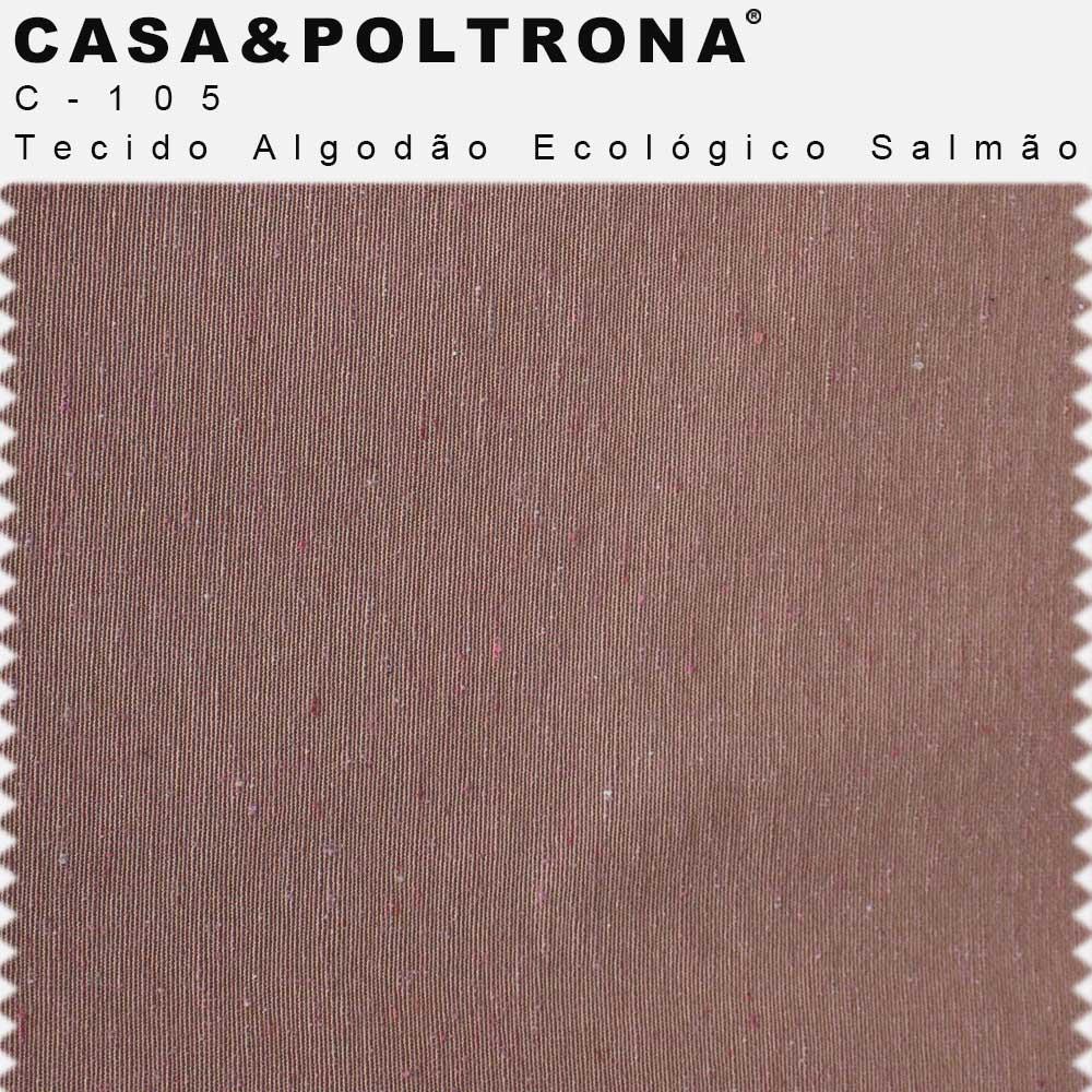 Poltrona de Sala Betina Base Aço Rosê Algodão Ecológico Salmão - CasaePoltrona