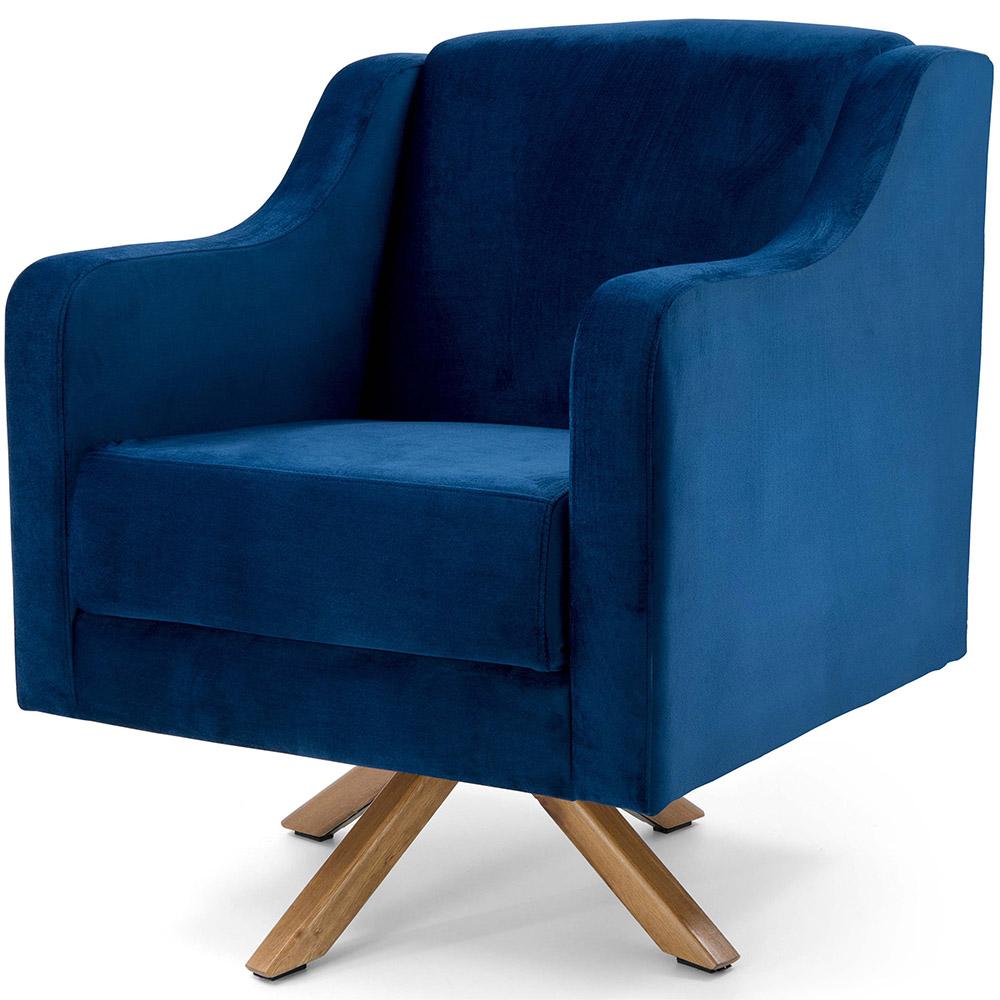Poltrona De Sala Clara Base Giratória Giromad Veludo Azul Royal - casaepoltrona