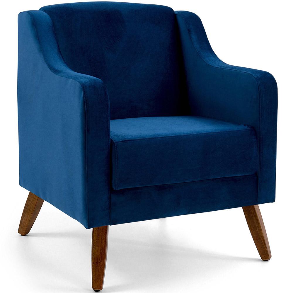 Poltrona De Sala Clara Pés Madeira Veludo Azul Royal - casaepoltrona