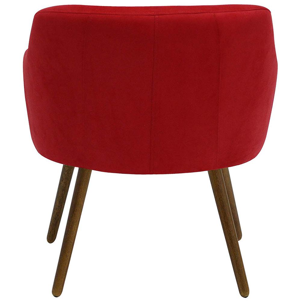 Poltrona De Sala Decorativa Jade Pés Palito Suede Vermelho - casaepoltrona