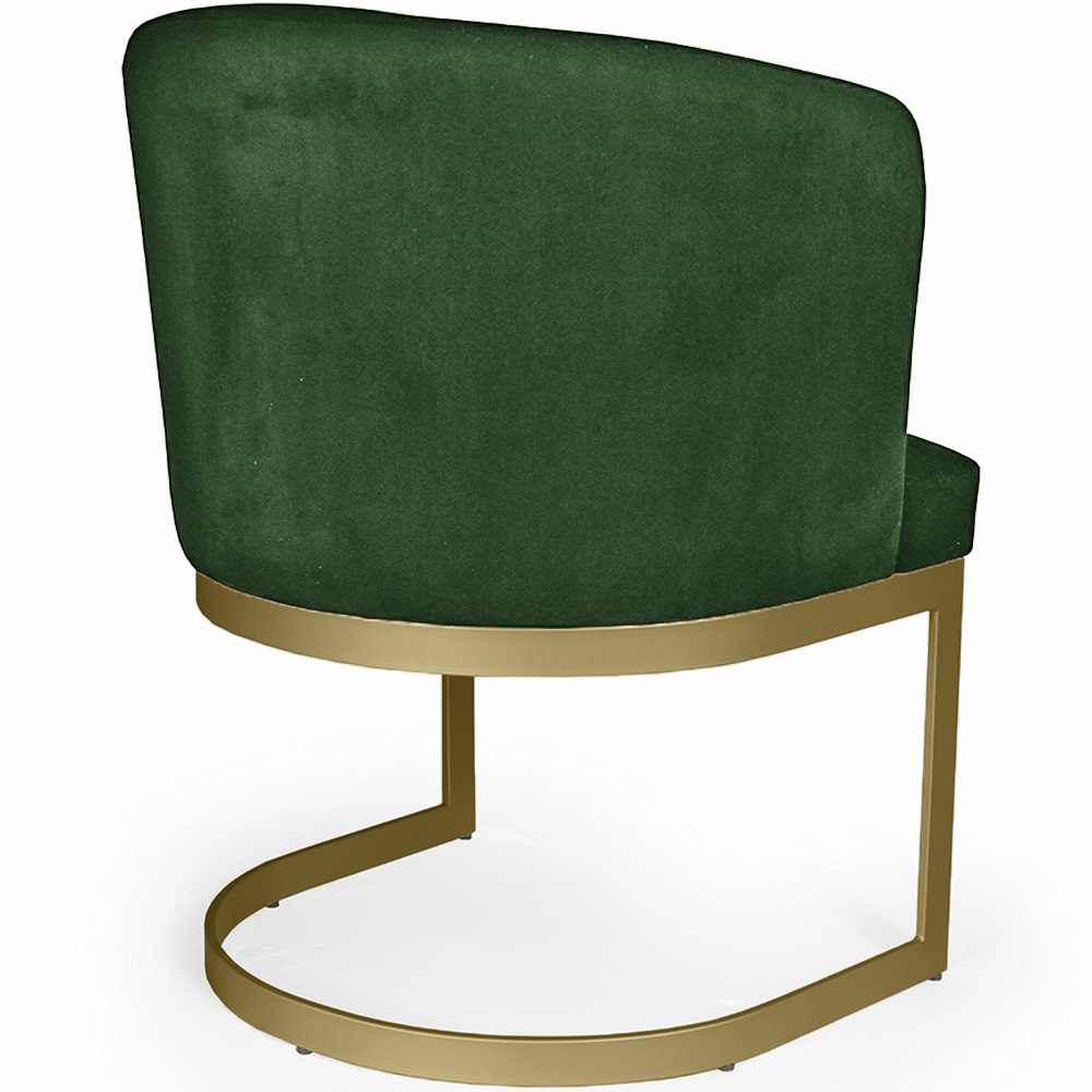 Poltrona Decorativa Cléo Base Old Bronze Veludo Verde - CasaePoltrona