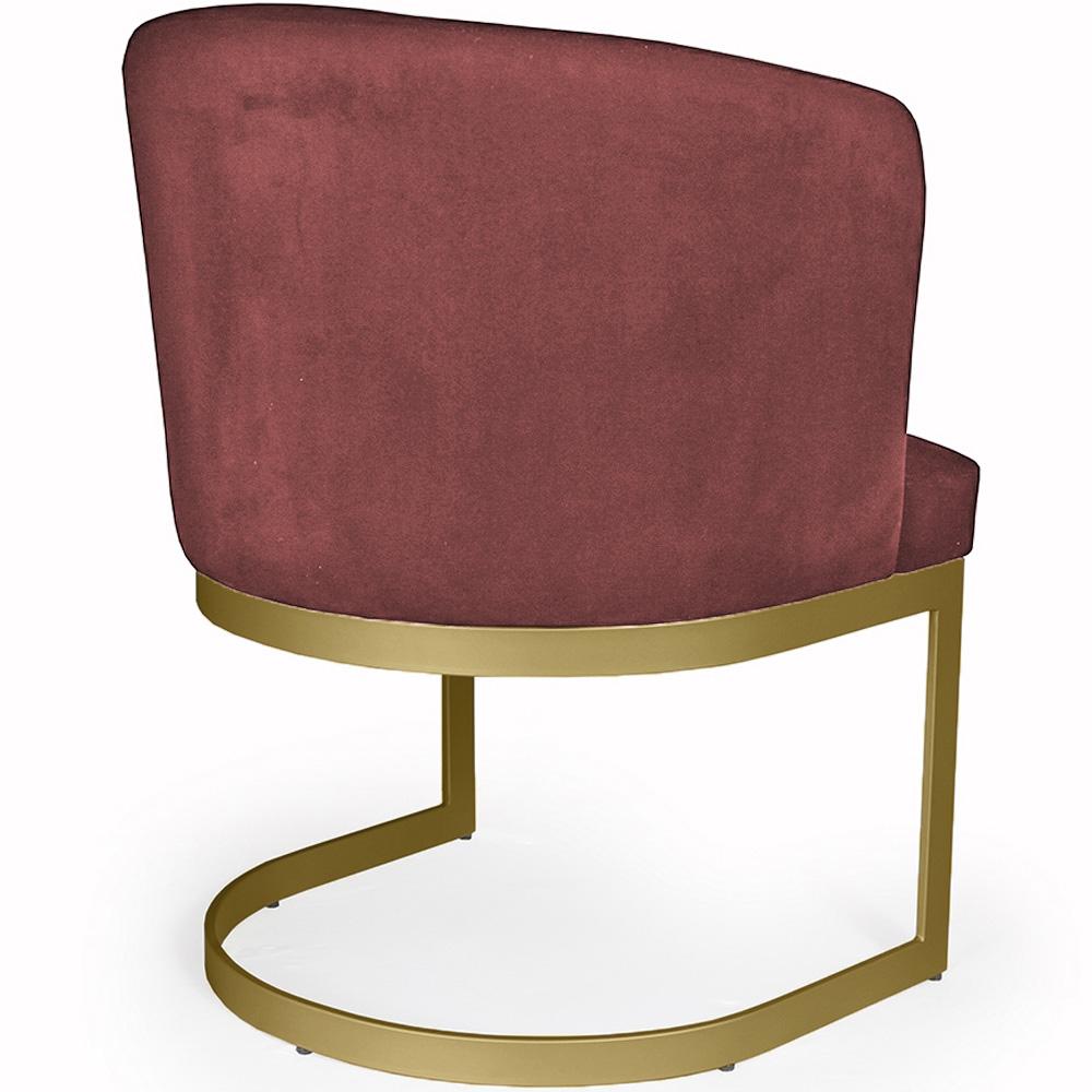 Poltrona Decorativa Cléo Base Old Bronze Veludo Vermelho - CasaePoltrona