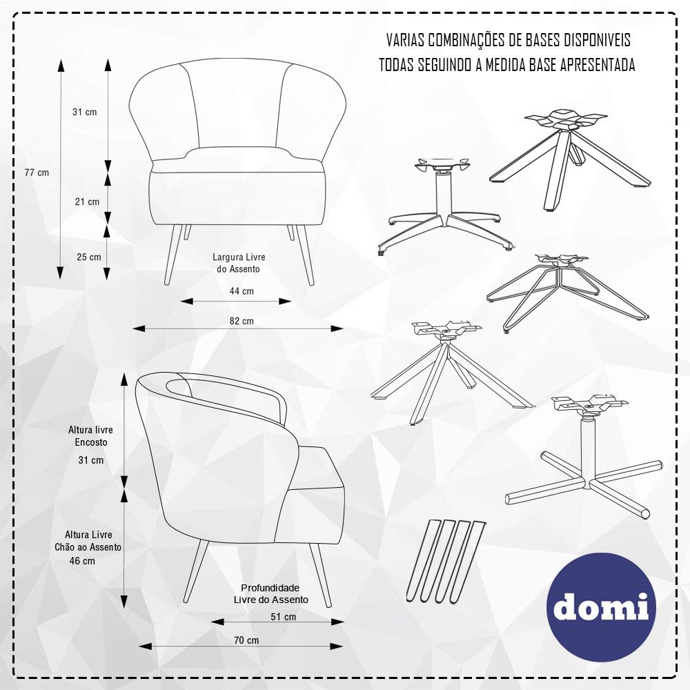Poltrona Decorativa Iris Base Giratória Giromad Veludo Riscado Bege - casaepoltrona