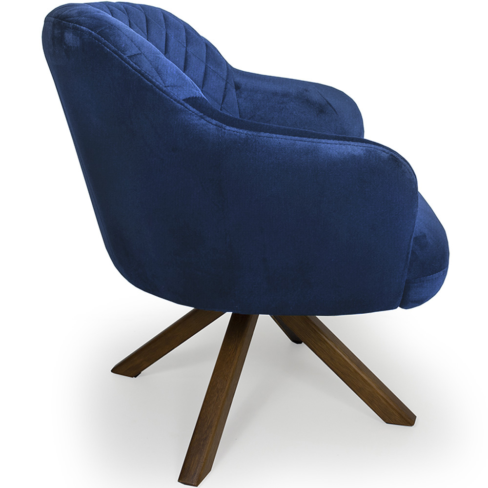 Poltrona Decorativa Jade Base Giratória Giromad Veludo Azul - CasaePoltrona