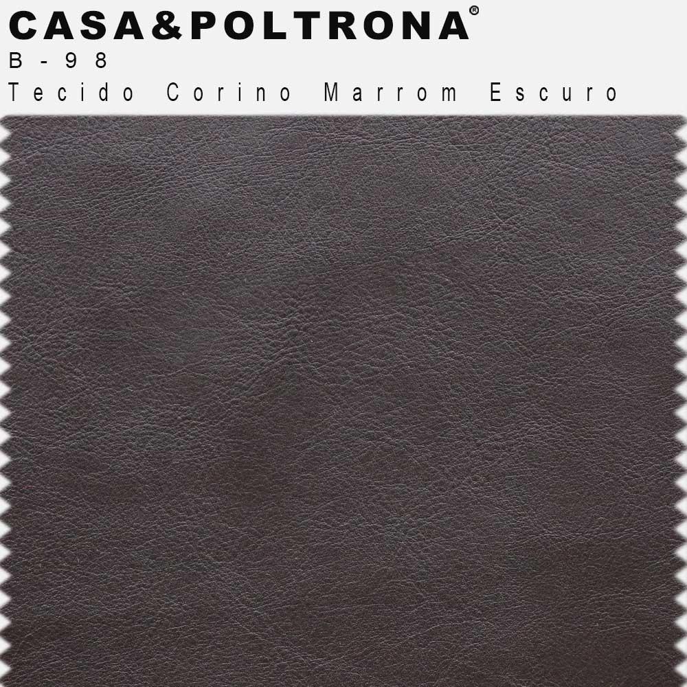 Poltrona Decorativa Joy Base de Madeira Corano Matelassê Marrom Escuro - casaepoltrona