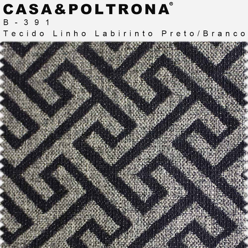 Poltrona Decorativa La Paloma Pés Madeira Linho Estampado Labirinto Preto/Cinza - casaepoltrona
