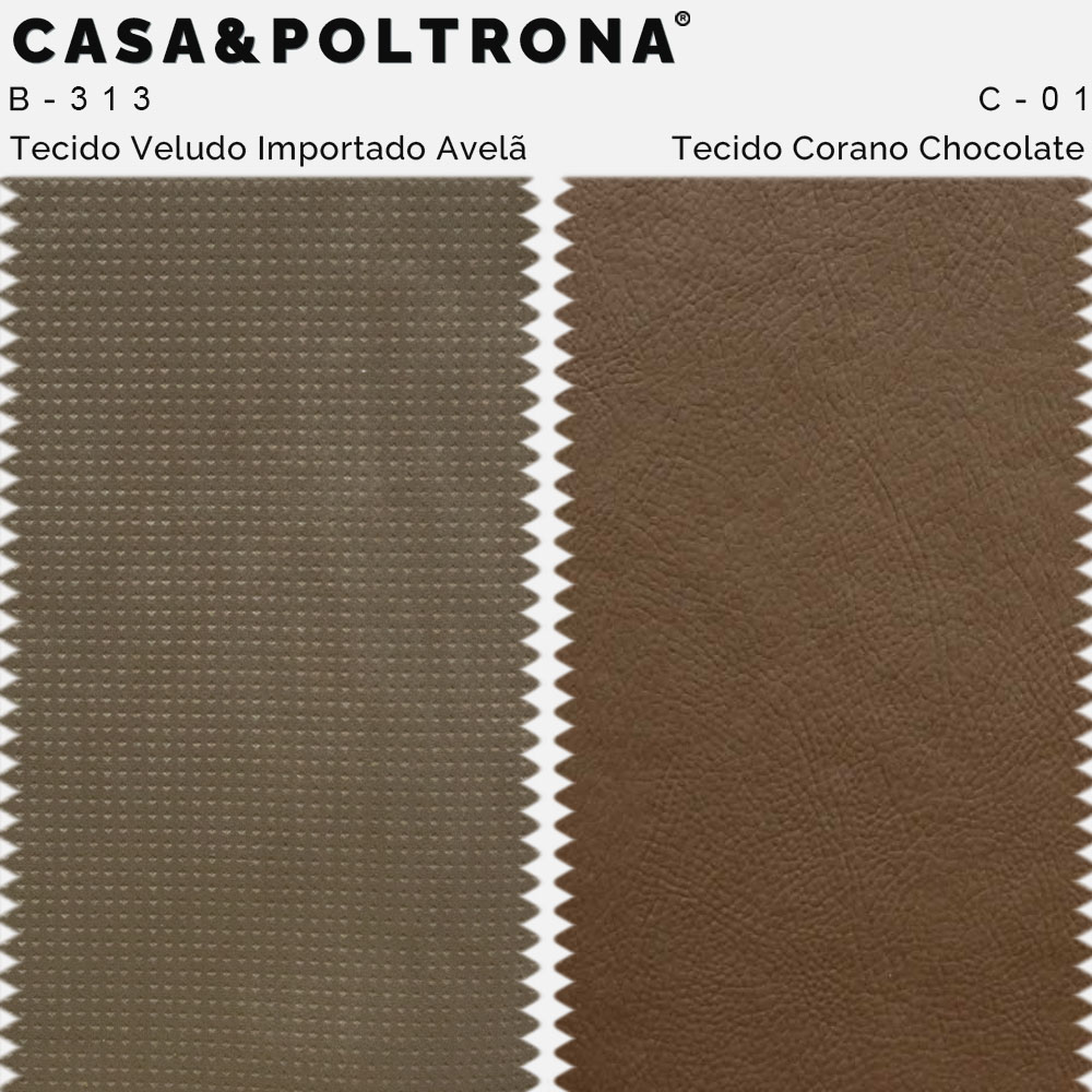 Poltrona Decorativa Milena Base Madeira Corano Chocolate/Veludo Importado Avelã - CasaePoltrona