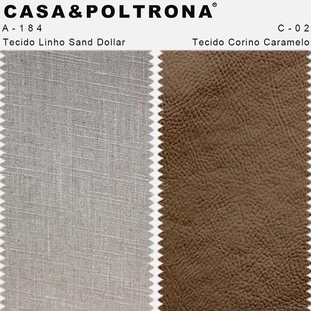 Poltrona Decorativa Milena Base Madeira Corano Caramelo/Linho Sand Dollar - casaepoltrona