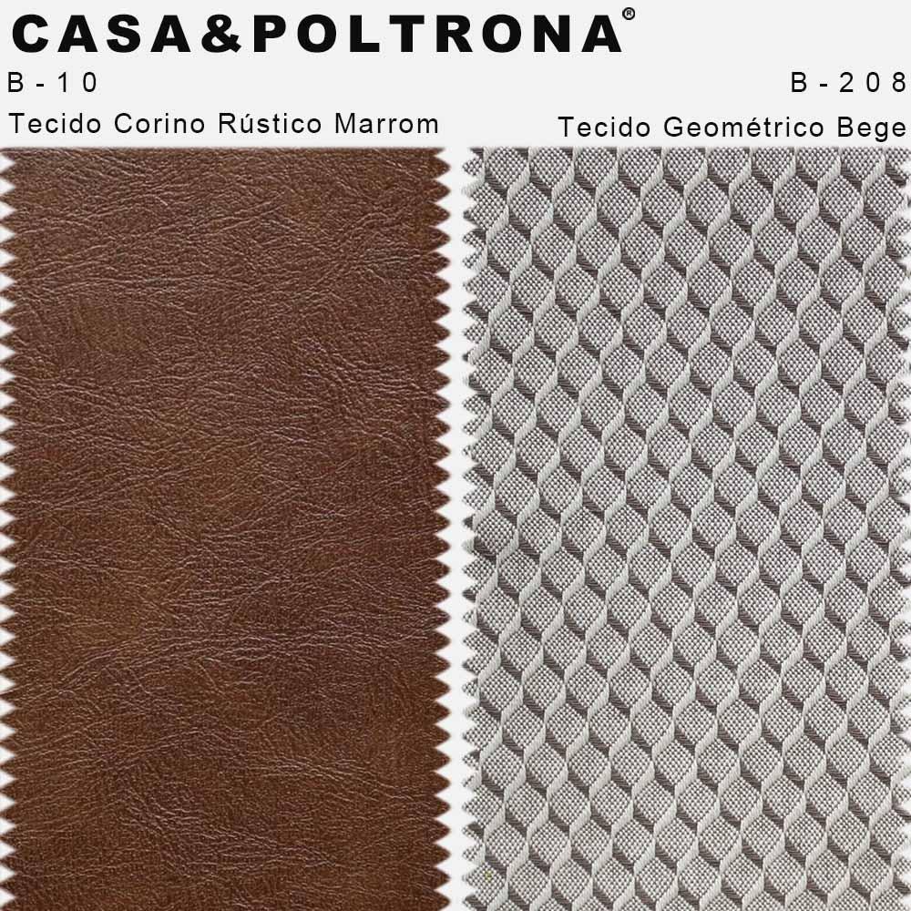 Poltrona Decorativa Milena Base Madeira Corano Rústico Marrom/Linho Geométrico Bege/Chocolate - casaepoltrona
