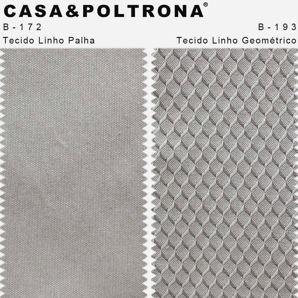 Poltrona Decorativa Milena Base Madeira Linho Geométrico/Linho Palha - CasaePoltrona