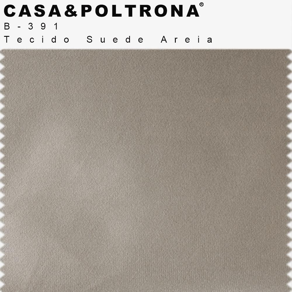Poltrona Decorativa Milena Base Madeira Suede Areia - CasaePoltrona