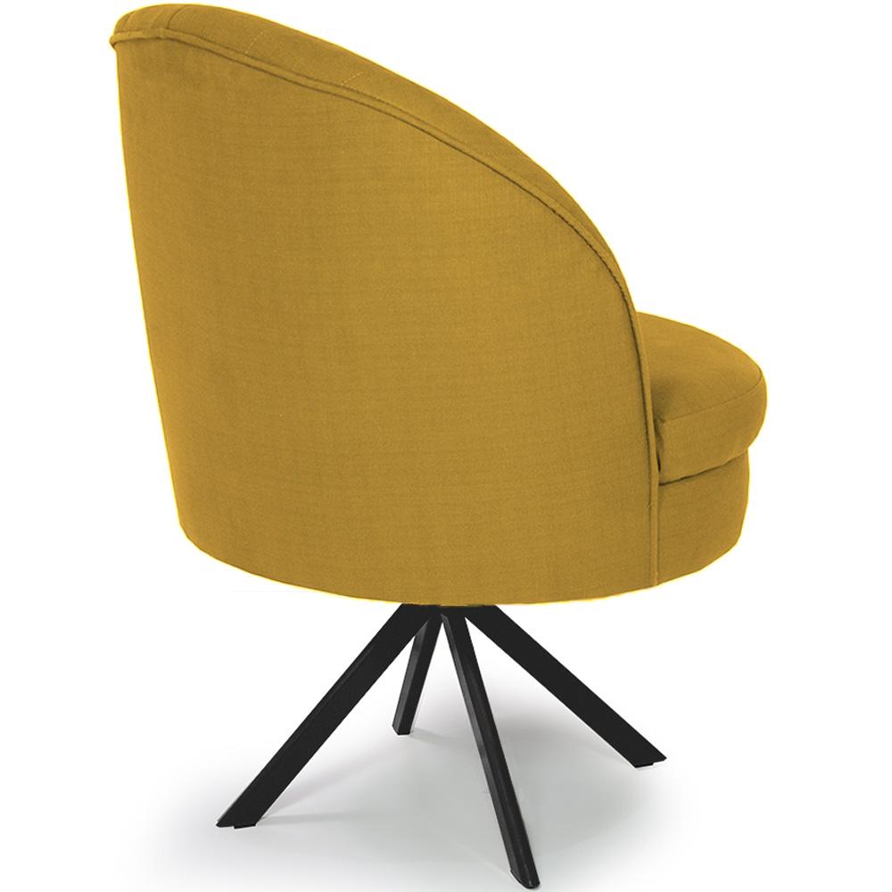 Poltrona Decorativa Mississipi Giratória Eiffel Preto Linho Amarelo - CasaePoltrona