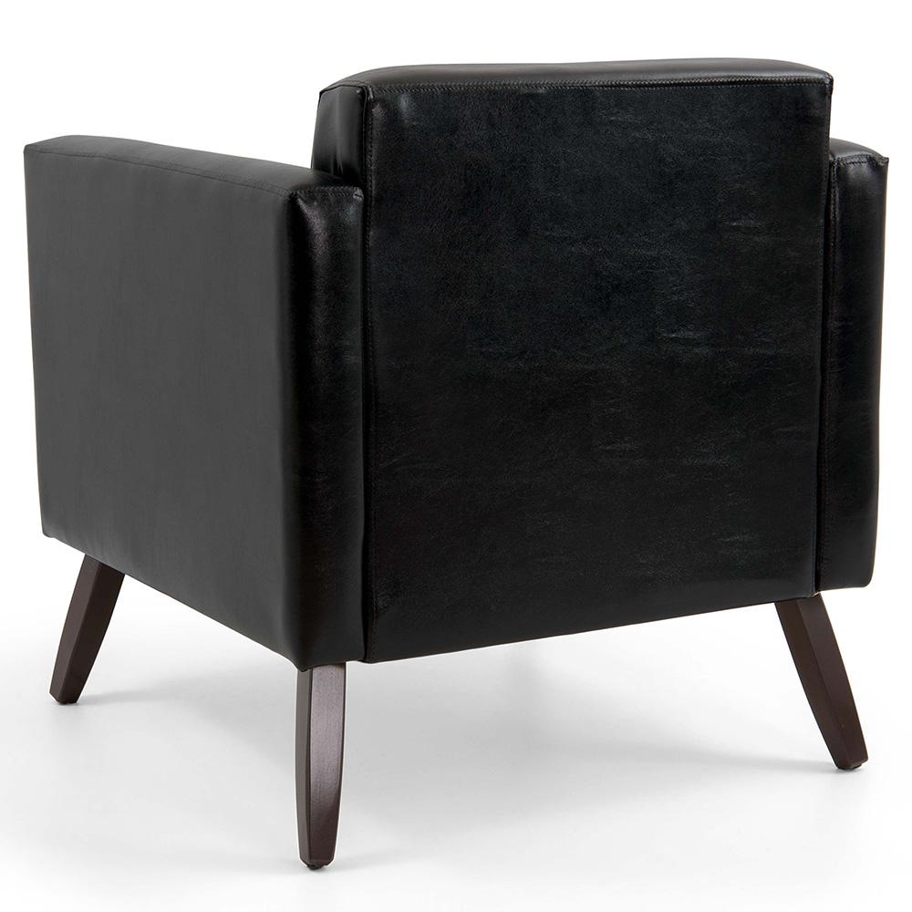Poltrona Decorativa Para Escritório Debby Pés Madeira Corano Black - casaepoltrona