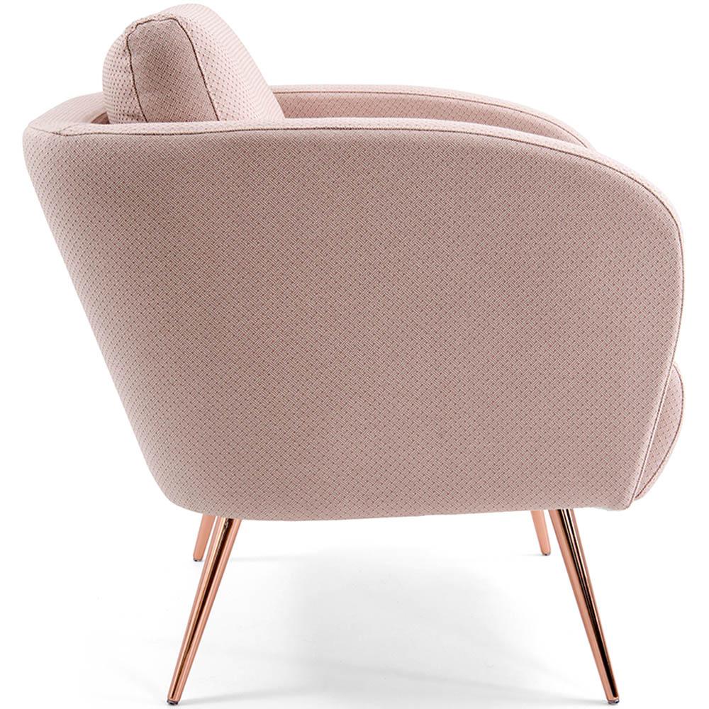Poltrona Decorativa Para Sala Dana Pés Palito Rose Gold Linho Geométrico Rosa - casaepoltrona