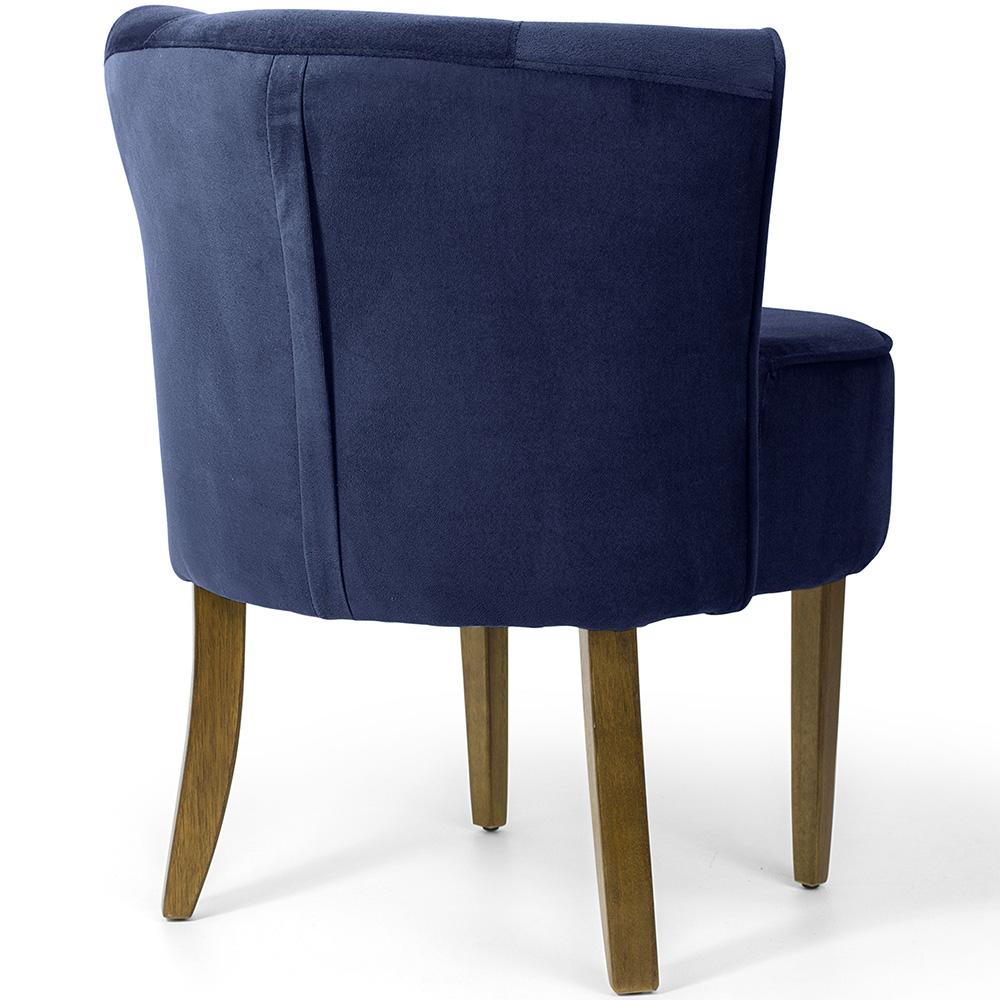 Poltrona Decorativa Para Sala de Estar Olivia Base Madeira Veludo Azul Royal - casaepoltrona