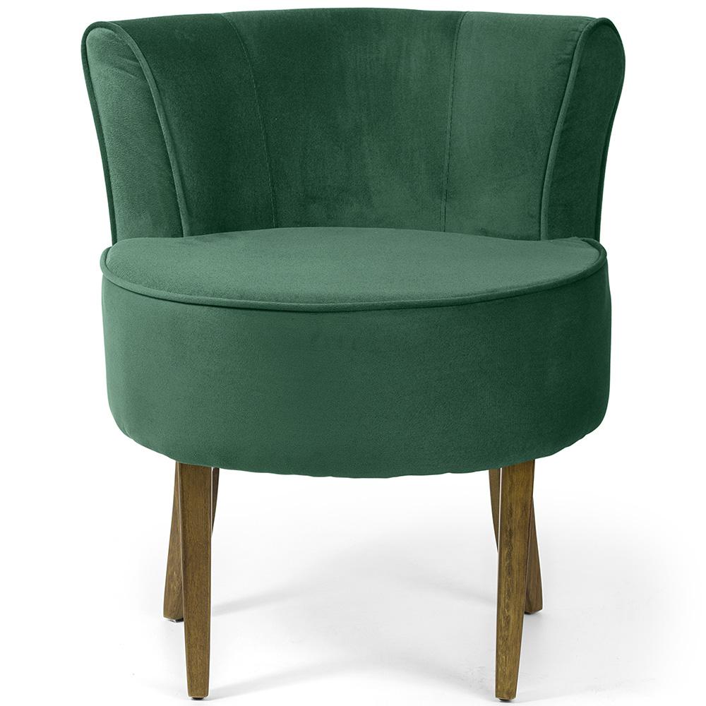 Poltrona Decorativa Para Sala de Estar Olivia Base Madeira Suede Verde Esmeralda - casaepoltrona