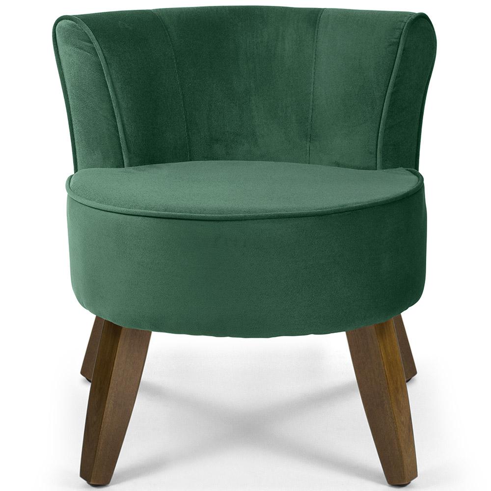 Poltrona Decorativa Para Sala de Estar Olivia Pés Madeira Suede Verde Esmeralda - casaepoltrona