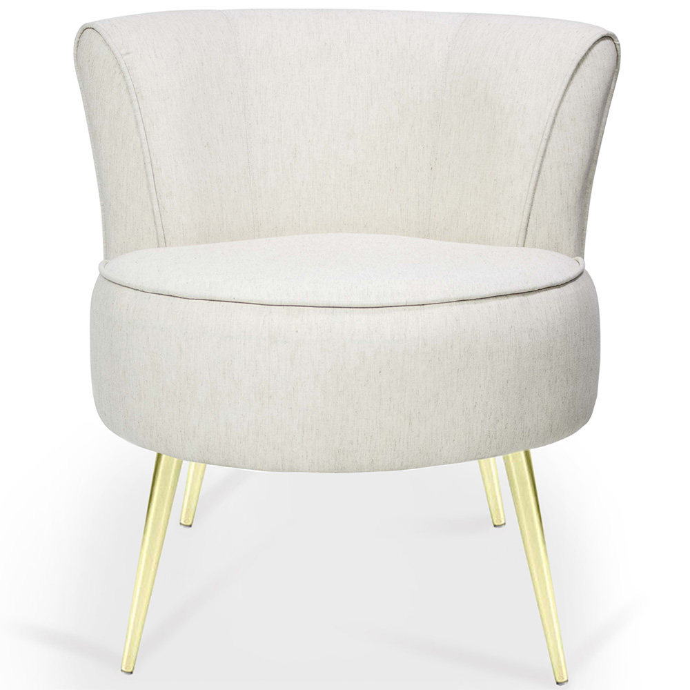 Poltrona Decorativa Para Sala de Estar Olivia Pés Palito Gold Algodão Marfin - casaepoltrona