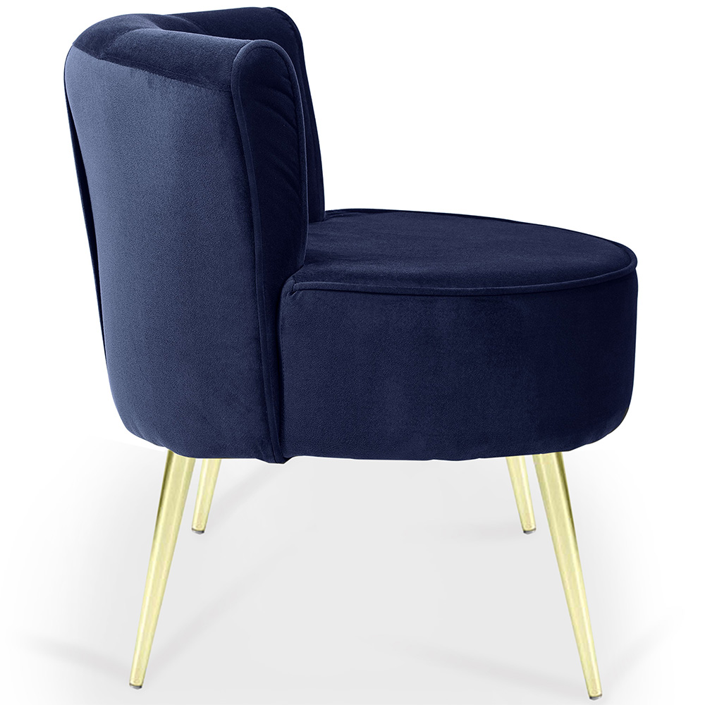 Poltrona Decorativa Para Sala de Estar Olivia Pés Palito Gold Veludo Azul Royal - casaepoltrona