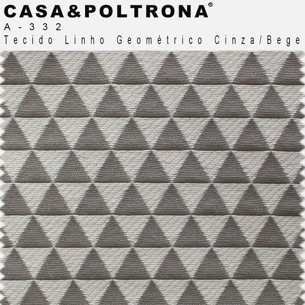 Poltrona Decorativa Para Sala Isabella Base Madeira Linho Geométrico Cinza/Bege - casaepoltrona