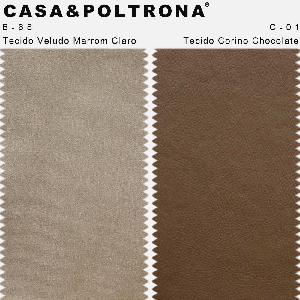 Poltrona Decorativa Para Sala Isabella Pés Madeira Corano Chocolate/Veludo Marrom Claro - casaepoltrona