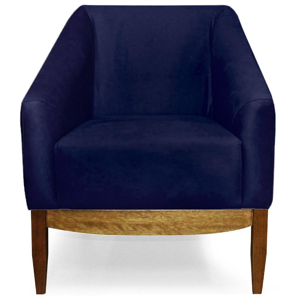 Poltrona Decorativa Para Sala Julia Base Madeira Suede Matelassê Azul Marinho - casaepoltrona