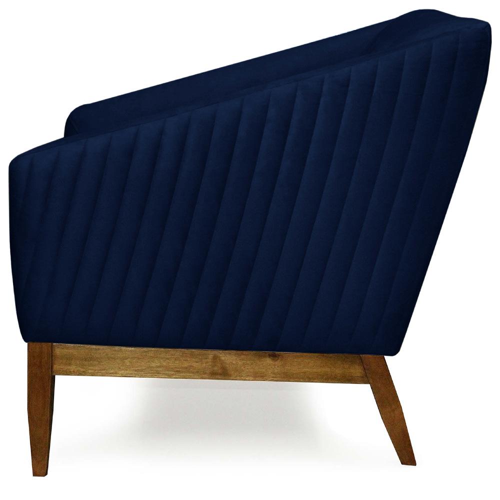 Poltrona Decorativa Para Sala Julia Base Madeira Veludo Matelassê Azul Royal - casaepoltrona