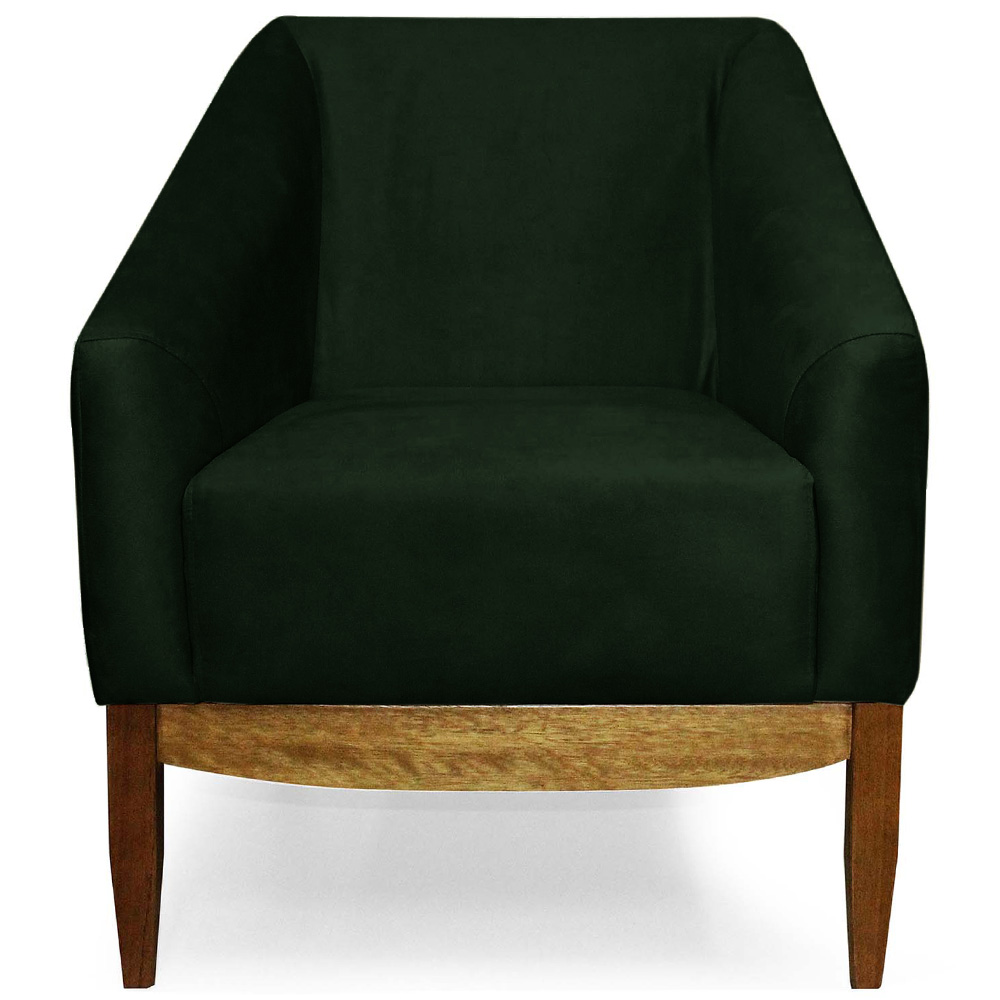 Poltrona Decorativa Para Sala Julia Base Madeira Suede Matelassê Verde Esmeralda - casaepoltrona
