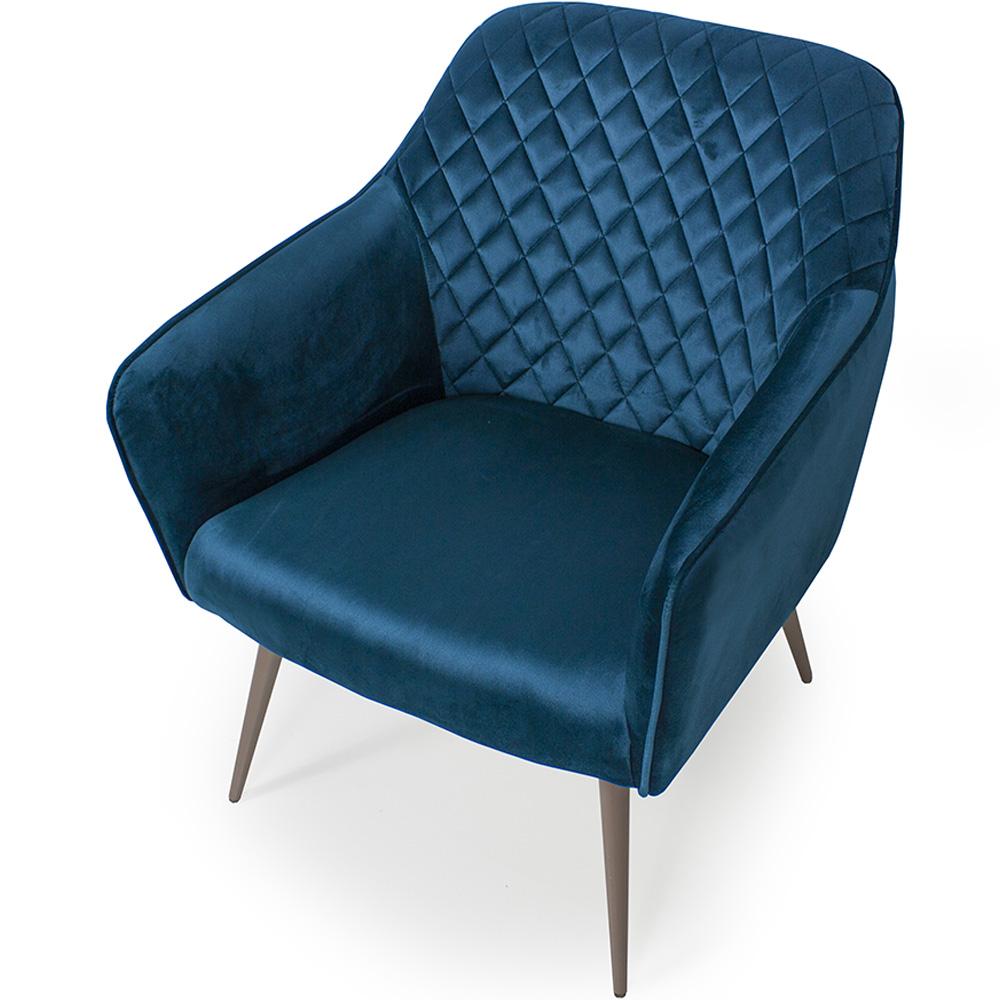 Poltrona Decorativa Para Sala Marselha Pés Palito Champagne Veludo Azul - Casaepoltrona
