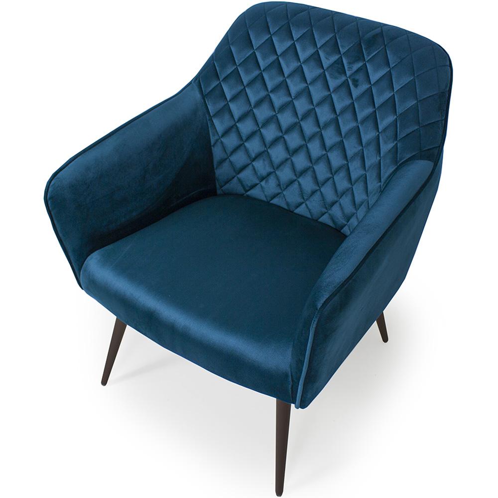 Poltrona Decorativa Para Sala Marselha Pés Palito Choco Veludo Azul - Casaepoltrona