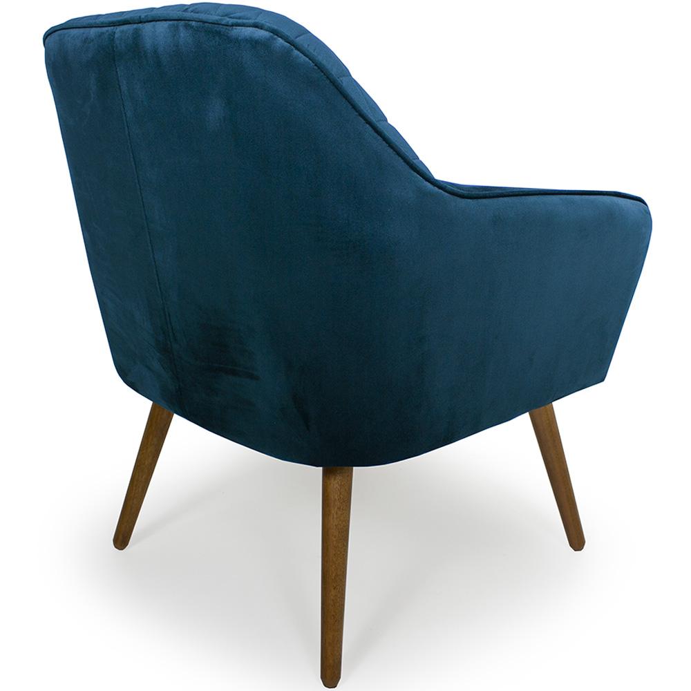 Poltrona Decorativa Para Sala Marselha Pés Palito Veludo Azul - Casaepoltrona