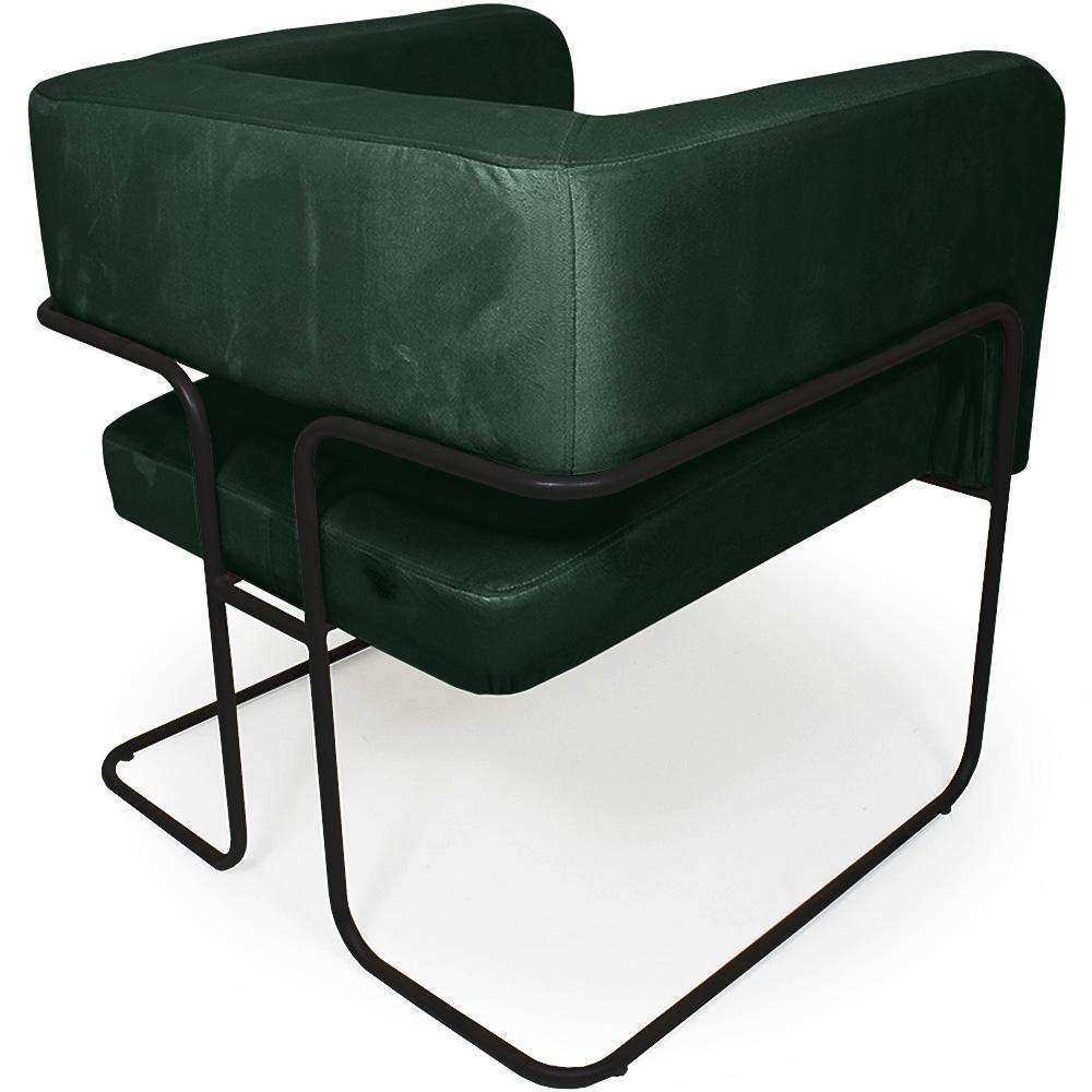 Poltrona Decorativa Scarlett Base Aço Preto Veludo Verde - Casaepoltrona