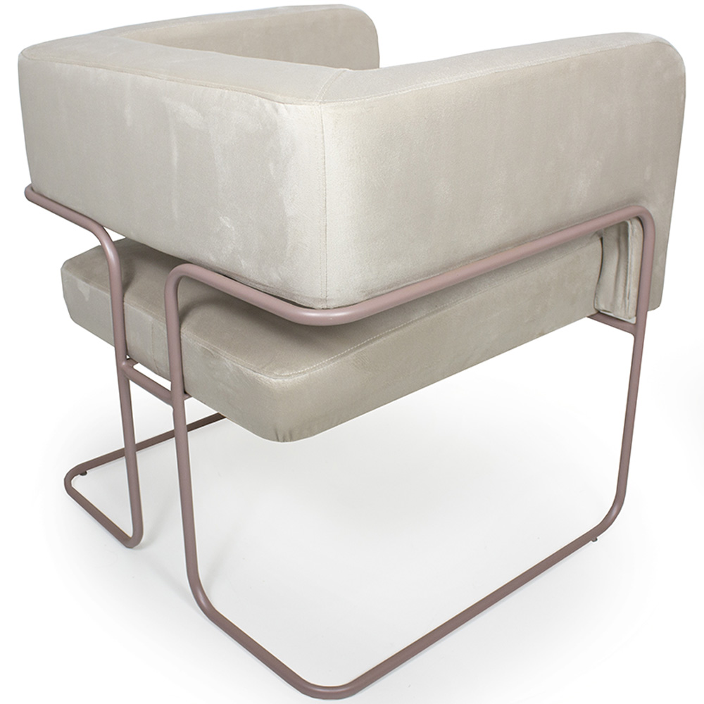 Poltrona Decorativa Scarlett Base Aço Rosê Veludo Creme - Casaepoltrona