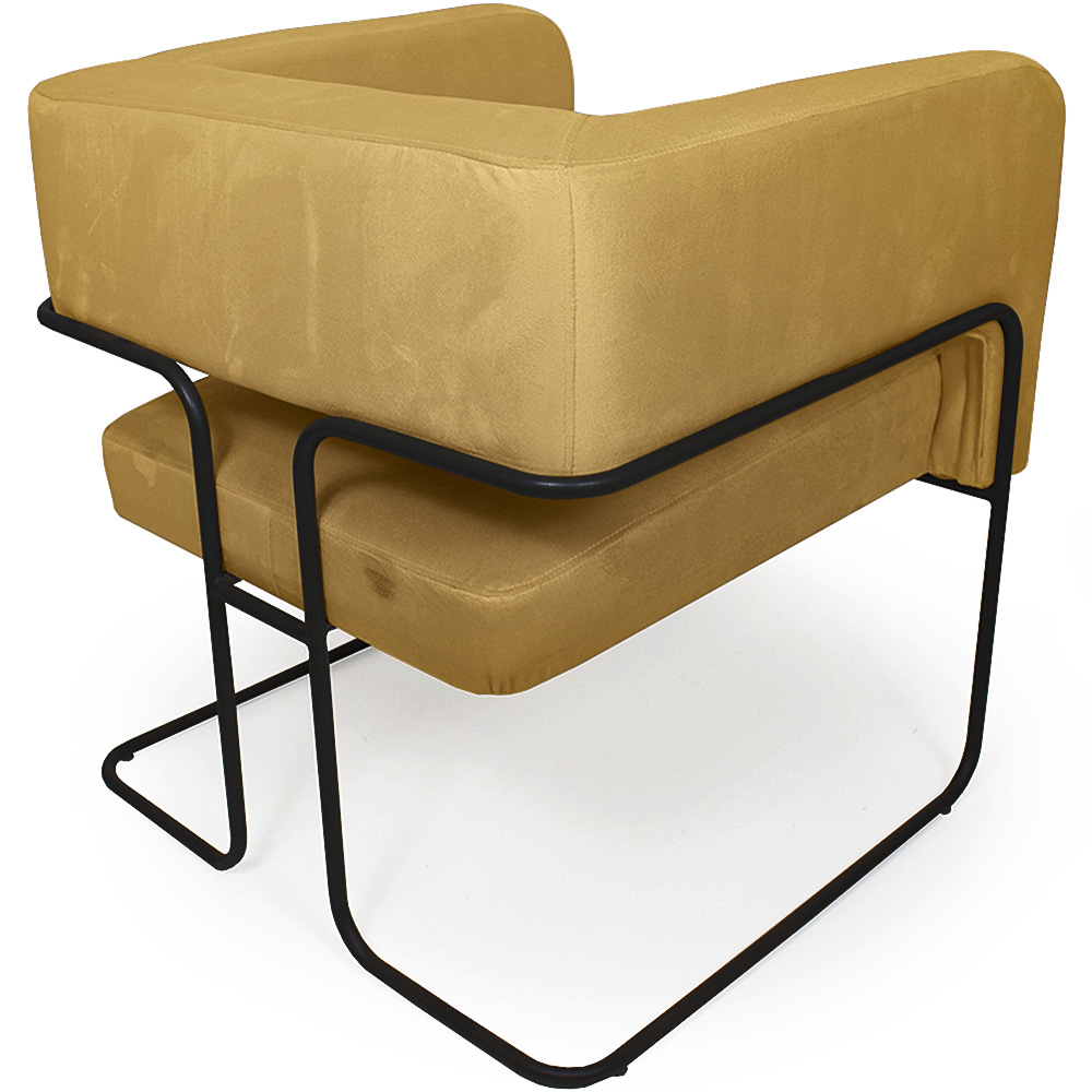 Poltrona Decorativa Scarlett Base Aço Preto Veludo Amarelo - Casaepoltrona