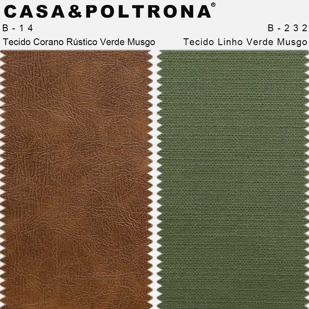 Poltrona Giratória Mississipi Base Giromad Linho Verde Musgo/Corano Rústico Caramelo - CasaePoltrona
